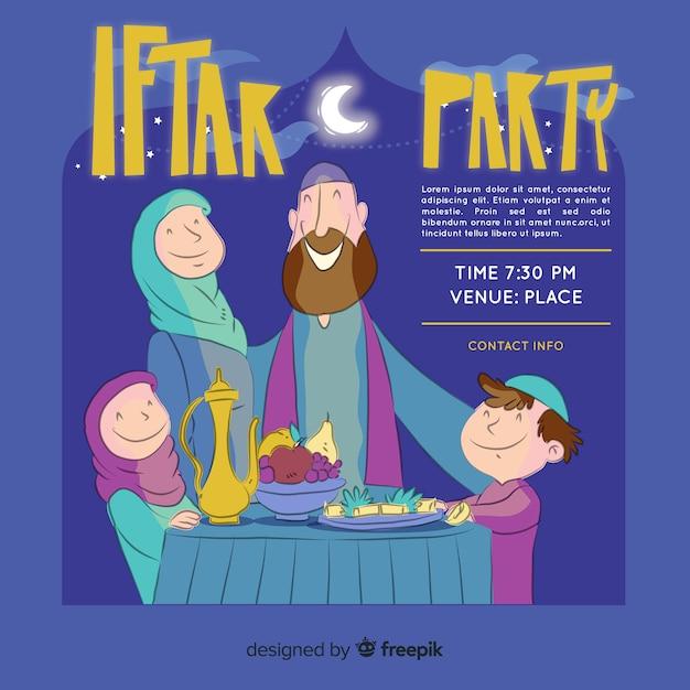 Invitation à l'iftar dessiné à la main Vecteur gratuit