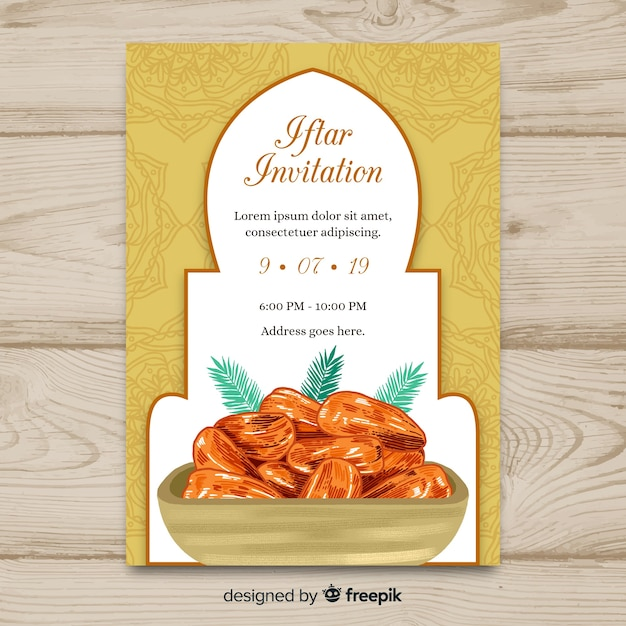 Invitation à l'iftar dessiné à la main Vecteur gratuit