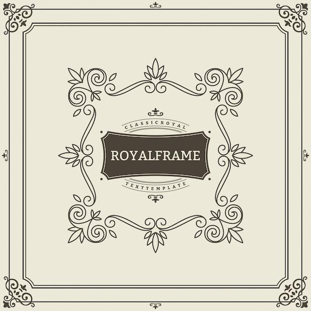 Invitation de luxe rétro, certificat royal. cadre s'épanouit. ornement vintage, cadre ornemental Vecteur Premium