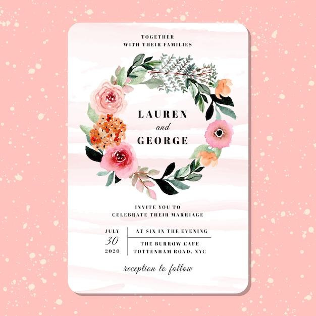 Invitation de mariage avec aquarelle couronne de fleurs jolie Vecteur Premium