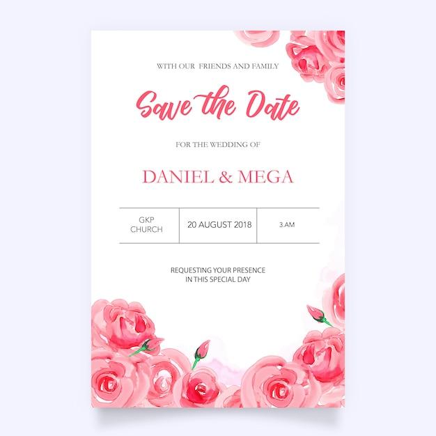Invitation de mariage aquarelle avec des fleurs Vecteur Premium