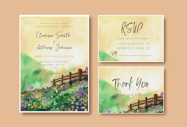 Invitation De Mariage Aquarelle Avec Jardin Paysager Et Ciel Jaune Vecteur Premium