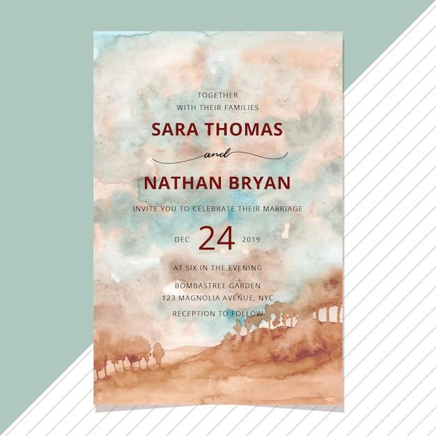 Invitation de mariage avec aquarelle de paysage de pays Vecteur Premium