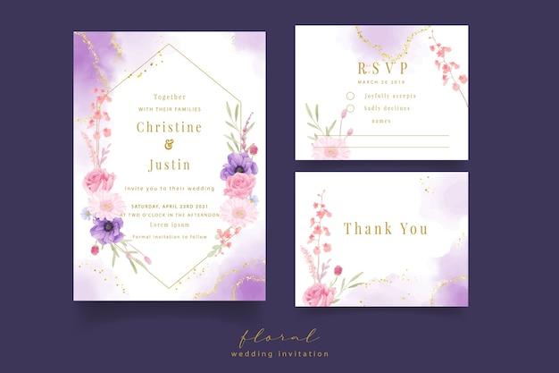 Invitation De Mariage Avec Aquarelle Rose, Anémone Et Fleurs De Gerbera Vecteur gratuit