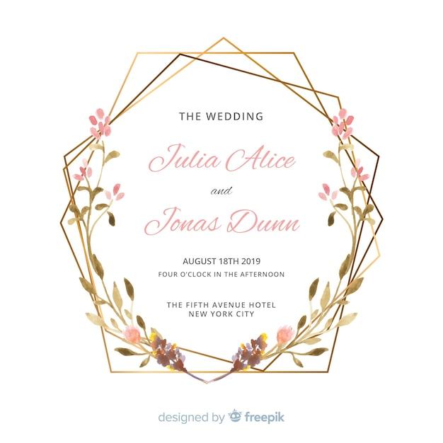 Invitation de mariage aquarelle Vecteur gratuit
