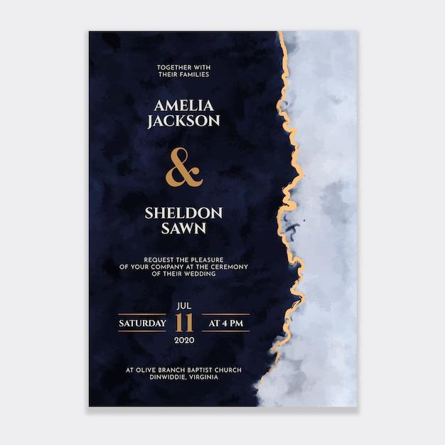 Invitation De Mariage Aquarelle Vecteur Premium