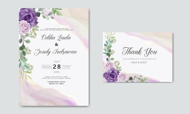 Invitation De Mariage Avec De Beaux Thèmes Floraux Vecteur Premium