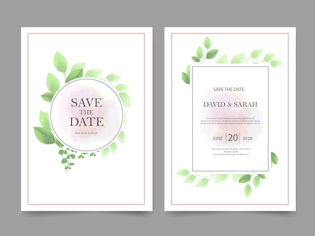 Invitation de mariage belle avec feuille verte Vecteur Premium