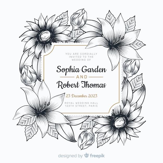 Invitation de mariage avec de belles fleurs Vecteur gratuit