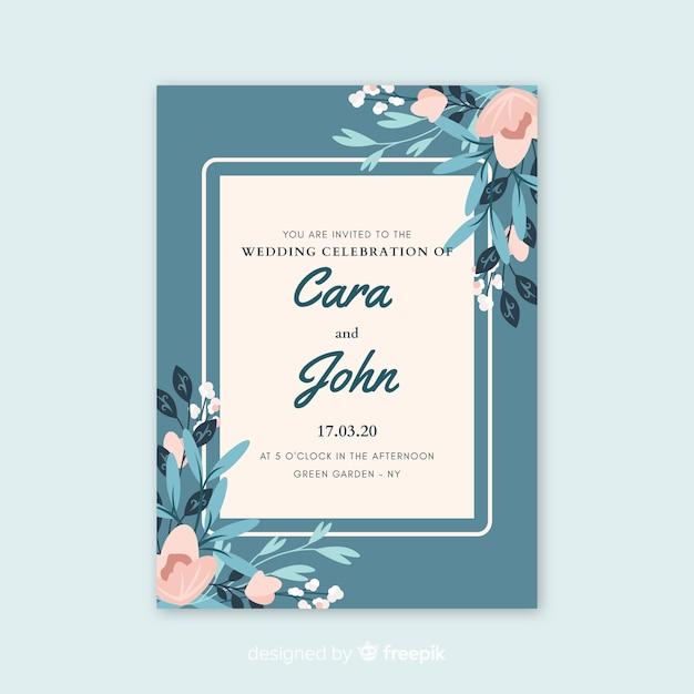 Invitation de mariage bleu avec des fleurs Vecteur gratuit