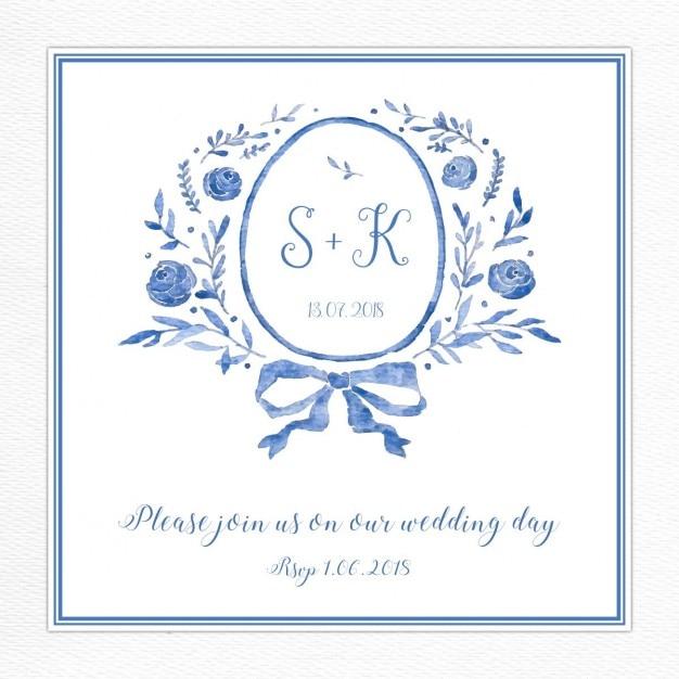 Invitation de mariage bleu avec un logo Vecteur gratuit