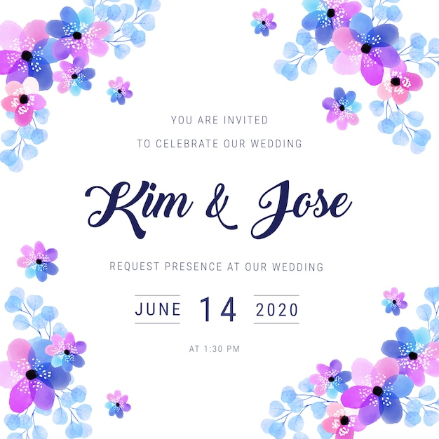 Invitation de mariage de cadre aquarelle Vecteur gratuit