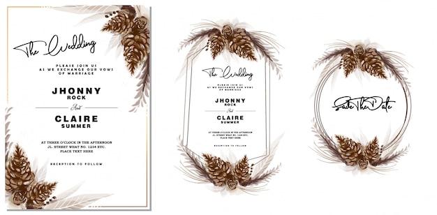 Invitation de mariage et cadre de cône de pin vintage aquarelle Vecteur Premium