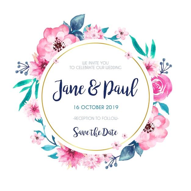 Invitation De Mariage Cadre Doré Vecteur gratuit