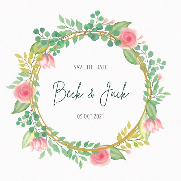 Invitation De Mariage Avec Cadre De Fleurs Aquarelle Vecteur gratuit