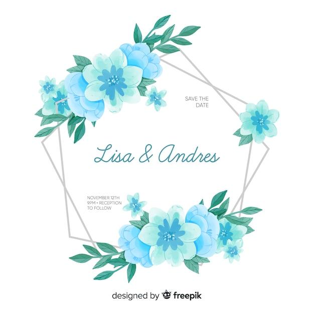 Invitation de mariage avec cadre floral aquarelle Vecteur gratuit
