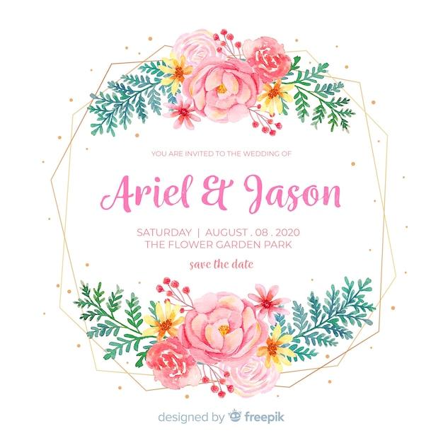 Invitation de mariage de cadre floral aquarelle Vecteur gratuit