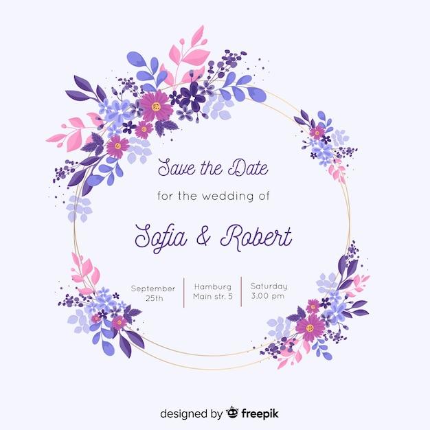 Invitation de mariage de cadre floral peint à la main coloré Vecteur gratuit