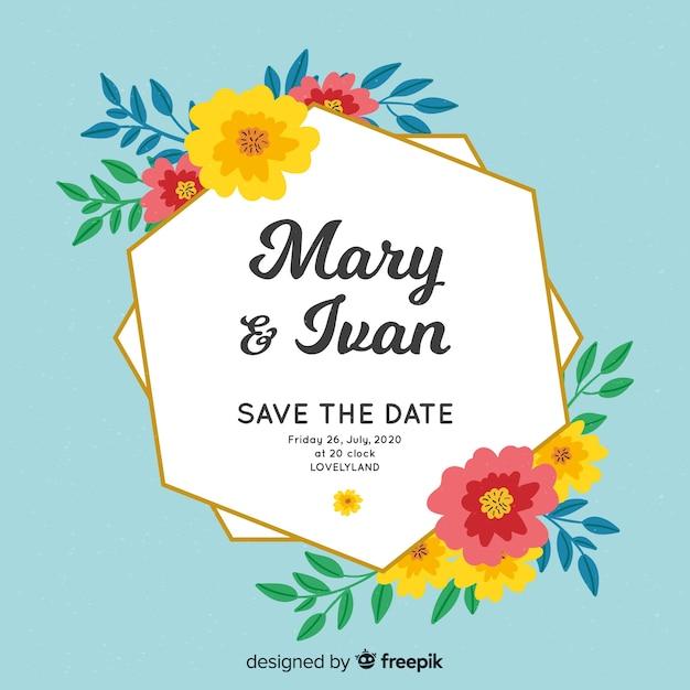 Invitation de mariage de cadre floral peint à la main Vecteur gratuit