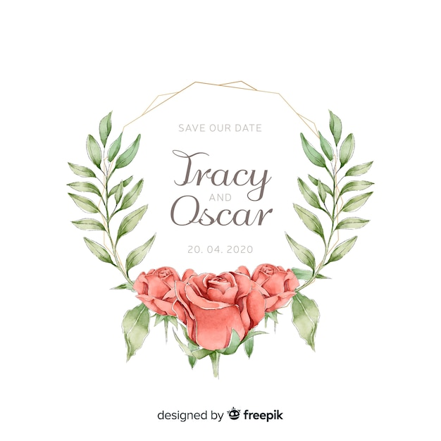 Invitation de mariage cadre floral avec des roses dans un style aquarelle Vecteur gratuit