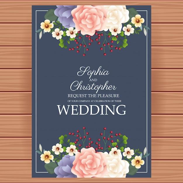 Invitation De Mariage Avec Cadre Floral Vecteur Premium