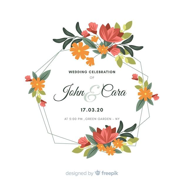 Invitation de mariage avec cadre floral Vecteur gratuit