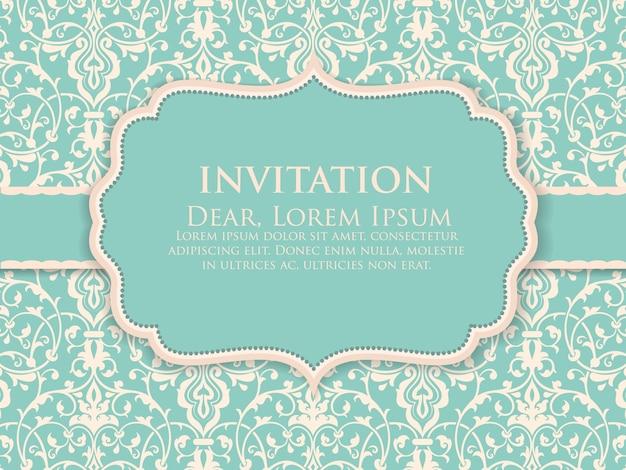 Invitation de mariage et carte d'annonce avec des illustrations d'arrière-plan vintage. élégant fond damassé orné. élégant ornement abstrait floral. modèle de conception. Vecteur gratuit