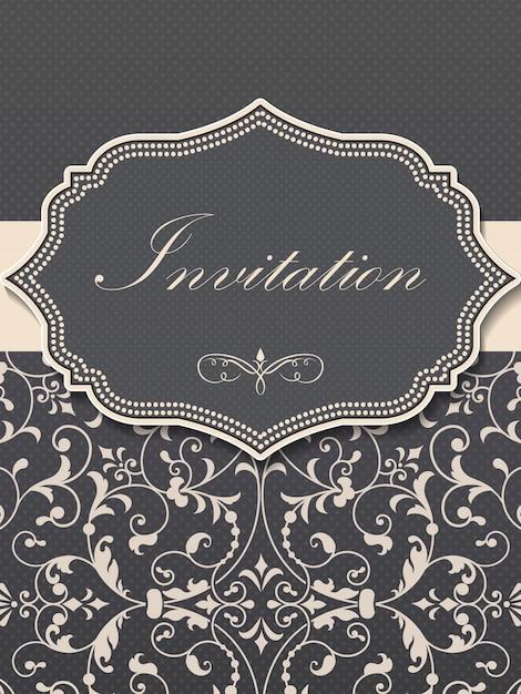 Invitation De Mariage Et Carte D'annonce Avec Oeuvre D'art Vintage Vecteur gratuit