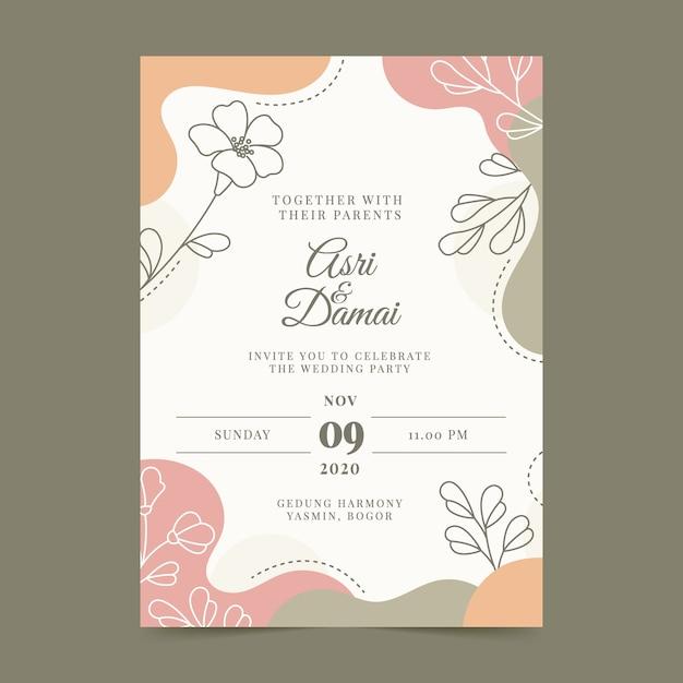 Invitation De Mariage Colorée Dessinée à La Main Vecteur gratuit