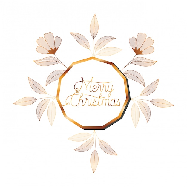 Invitation de mariage dans un cadre doré avec des fleurs Vecteur Premium