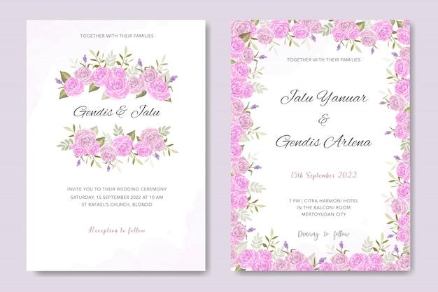 Invitation de mariage design floral rose Vecteur Premium