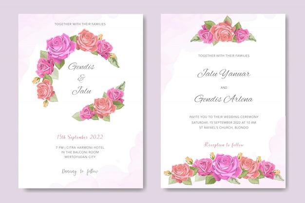 Invitation de mariage design floral Vecteur Premium