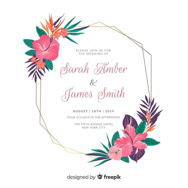 Invitation de mariage élégant cadre floral plat Vecteur gratuit