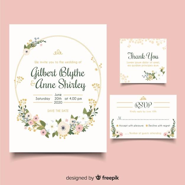 Invitation de mariage élégant design plat Vecteur gratuit