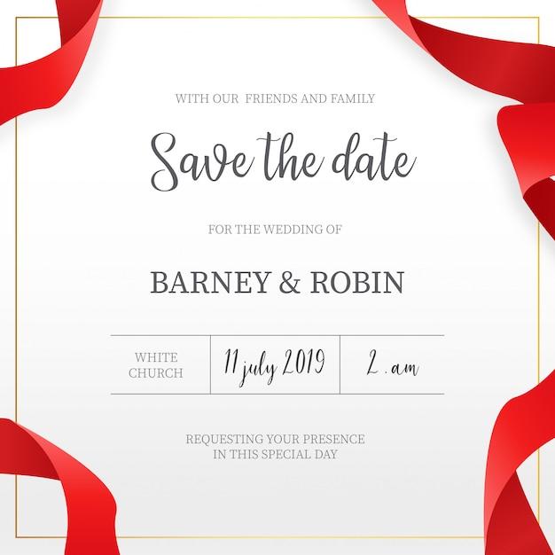 Invitation de mariage élégant avec des rubans rouges Vecteur gratuit