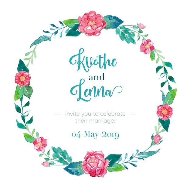Invitation de mariage élégante avec cadre floral Vecteur gratuit