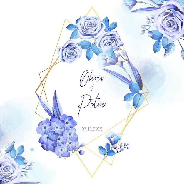 Invitation de mariage élégante avec cadre géométrique et doré Vecteur gratuit