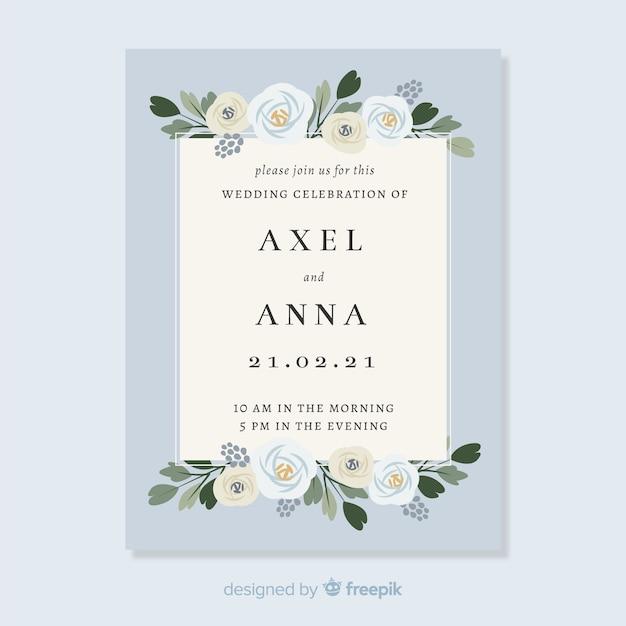 Invitation de mariage avec des éléments floraux Vecteur gratuit