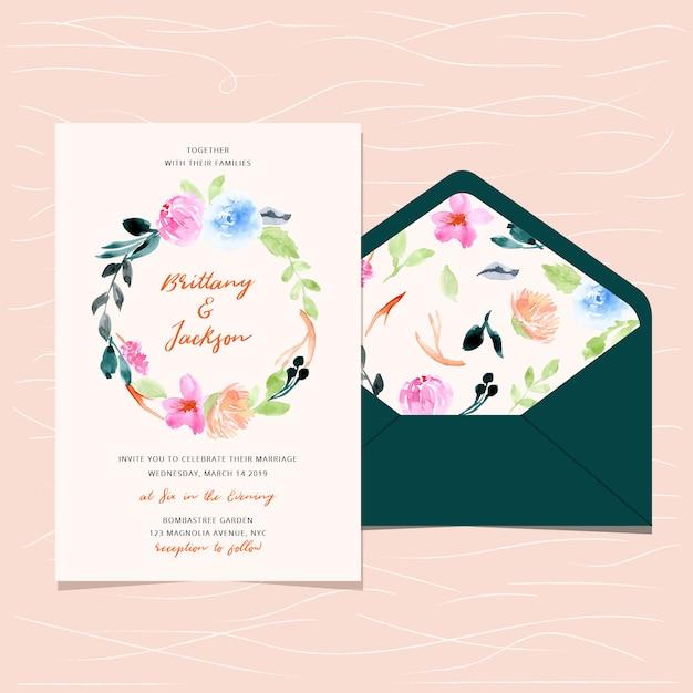 Invitation de mariage et enveloppe avec aquarelle florale Vecteur Premium