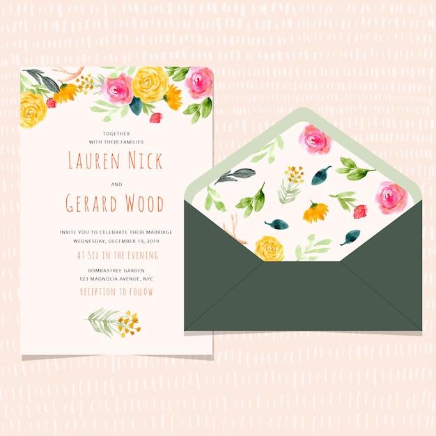 Invitation de mariage et enveloppe avec fond floral aquarelle Vecteur Premium