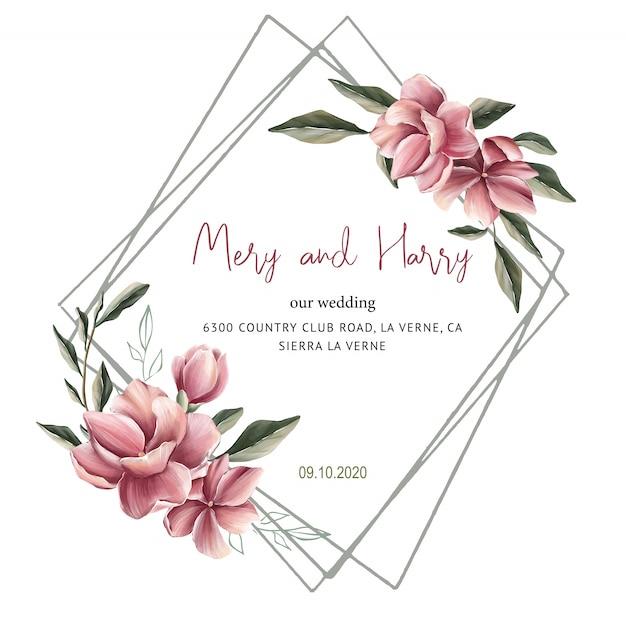 Invitation de mariage de fleur de magnolia pour des cartes de mariage, faites gagner la date et les feuilles Vecteur Premium