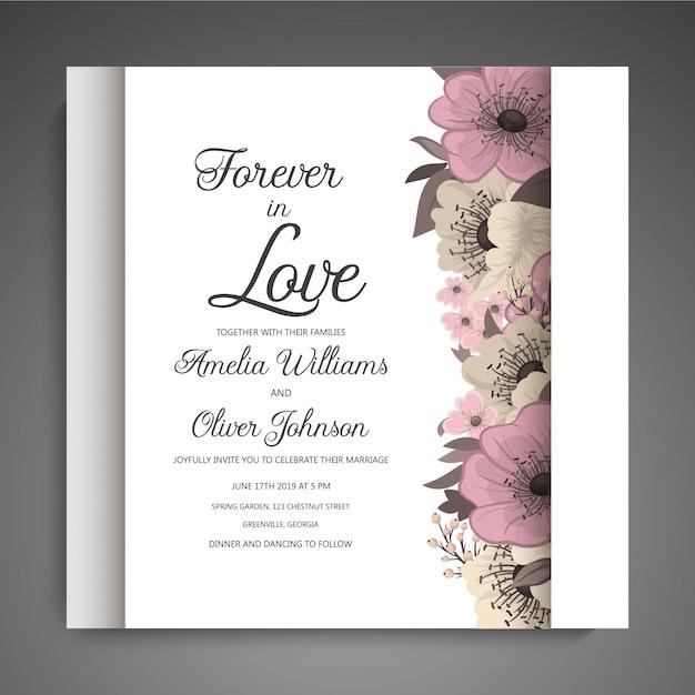 Invitation de mariage avec fleur noyée Vecteur gratuit