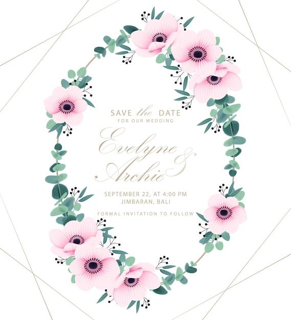 Invitation de mariage avec fleurs d'anemone et eucalyptus Vecteur Premium