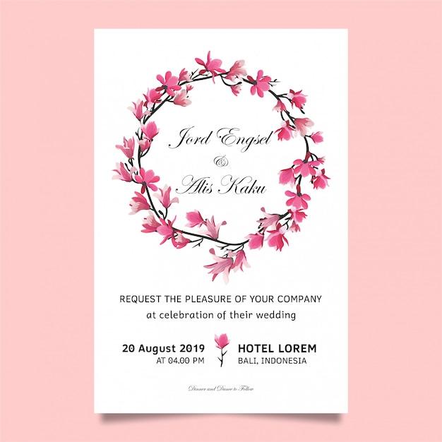Invitation de mariage avec des fleurs de cerisier Vecteur Premium