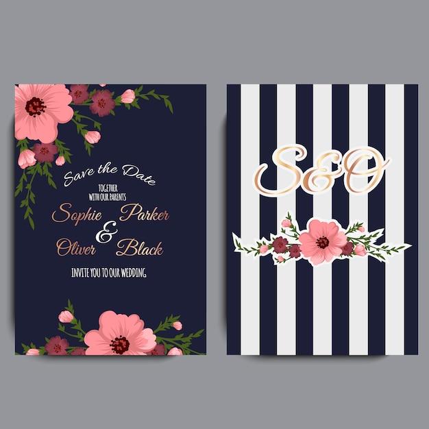 Invitation de mariage avec des fleurs colorées. Vecteur Premium