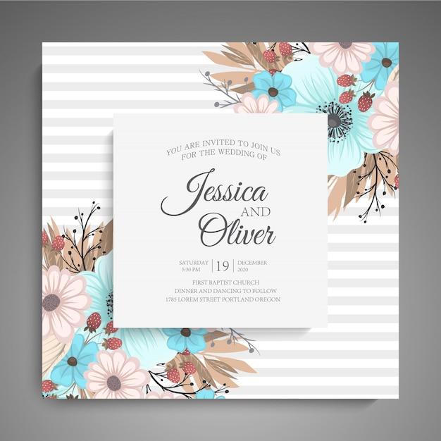 Invitation de mariage avec des fleurs colorées. Vecteur gratuit