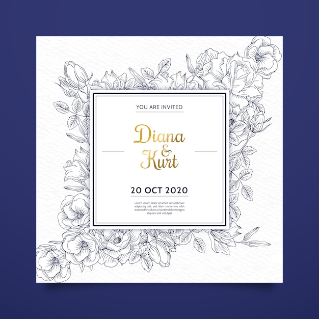 Invitation de mariage de fleurs dessinées à la main réaliste sur les tons bleus Vecteur gratuit
