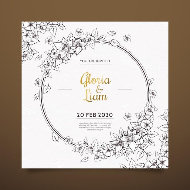 Invitation de mariage de fleurs dessinées à la main réaliste sur les tons marron Vecteur gratuit