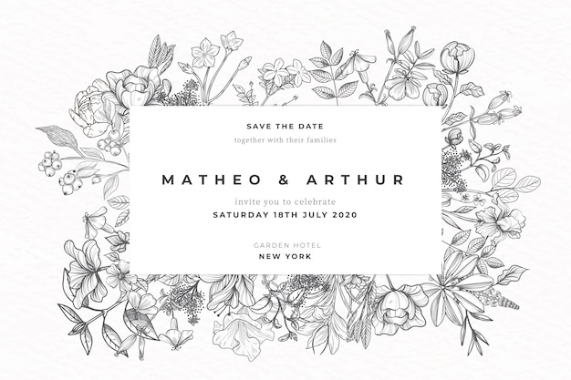 Invitation de mariage de fleurs dessinées à la main réaliste Vecteur gratuit