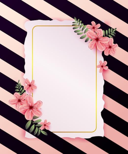 Invitation de mariage avec des fleurs de printemps sur fond rose. Vecteur Premium